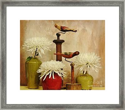 Hand Painted Wooden Birds With Mums Framed Print by Marsha Heiken