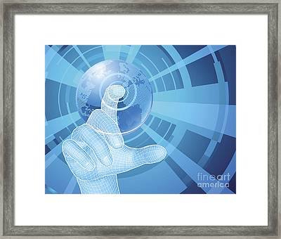 Hand Selecting World Globe Concept Background Framed Print by Christos Georghiou