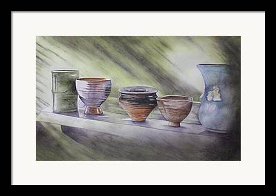 Hand Thrown Pottery Paintings Framed Prints