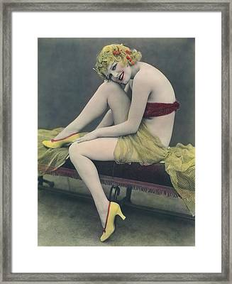 Hand Tinted Photo Of A Woman Framed Print