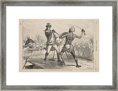 Hand-to-hand Combat Between Mr. Shore Framed Print by English School