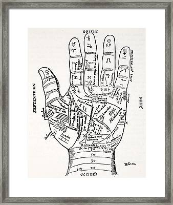 Hand With Symbols, Septentrion, Oriens Framed Print by French School