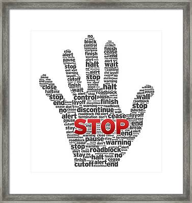 Hand With Words Framed Print by Aged Pixel