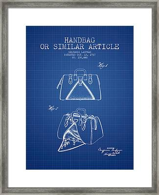 Handbag Or Similar Article Patent From 1937 - Blueprint Framed Print by Aged Pixel
