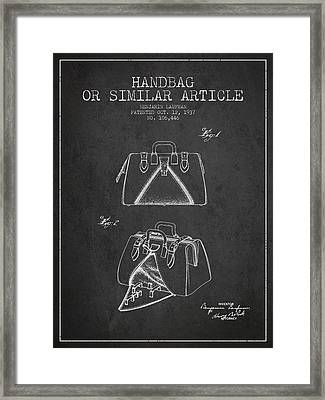 Handbag Or Similar Article Patent From 1937 - Charcoal Framed Print by Aged Pixel