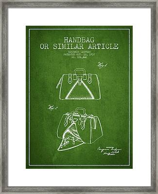 Handbag Or Similar Article Patent From 1937 - Green Framed Print by Aged Pixel