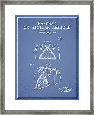 Handbag Or Similar Article Patent From 1937 - Light Blue Framed Print by Aged Pixel