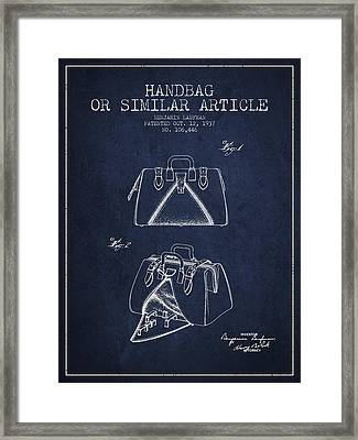 Handbag Or Similar Article Patent From 1937 - Navy Blue Framed Print by Aged Pixel
