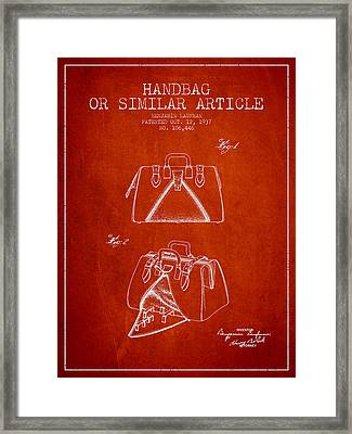 Handbag Or Similar Article Patent From 1937 - Red Framed Print by Aged Pixel