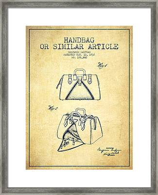 Handbag Or Similar Article Patent From 1937 - Vintage Framed Print by Aged Pixel