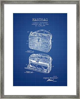 Handbag Patent From 1936 - Blueprint Framed Print by Aged Pixel