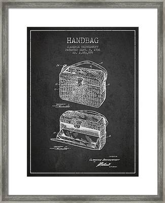 Handbag Patent From 1936 - Charcoal Framed Print by Aged Pixel