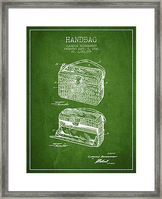 Handbag Patent From 1936 - Green Framed Print by Aged Pixel