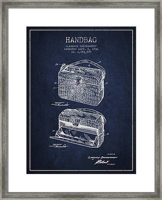 Handbag Patent From 1936 - Navy Blue Framed Print by Aged Pixel
