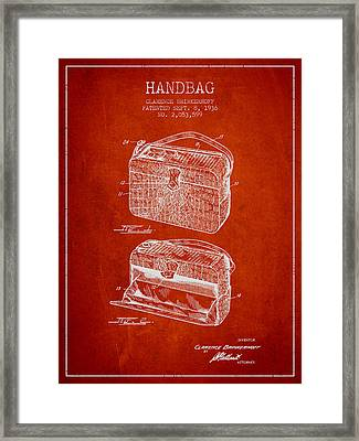 Handbag Patent From 1936 - Red Framed Print by Aged Pixel