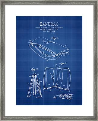 Handbag Patent From 1937 - Blueprint Framed Print by Aged Pixel