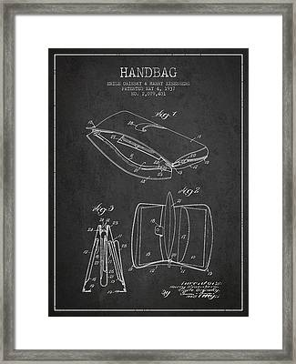 Handbag Patent From 1937 - Charcoal Framed Print by Aged Pixel