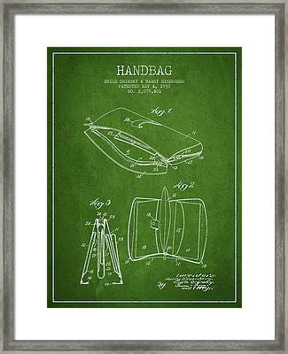Handbag Patent From 1937 - Green Framed Print by Aged Pixel