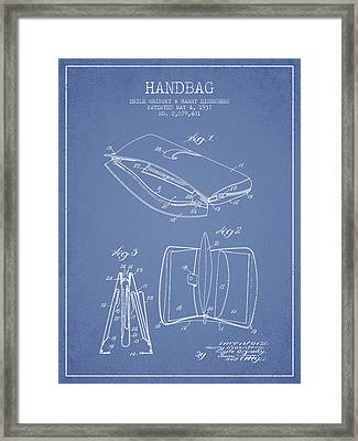 Handbag Patent From 1937 - Light Blue Framed Print by Aged Pixel
