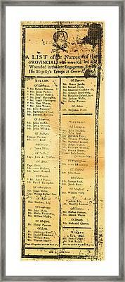 Handbill: Casualties, 1775 Framed Print by Granger