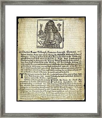 Handbill For Syphilis Cure Framed Print