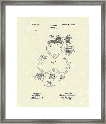 Handcuff 1899 Patent Art Framed Print