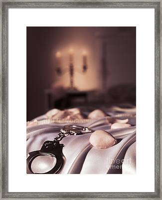 Handcuffs Ropes And Rose Petals On Bed Bdsm Sex Romantic Concept Framed Print by Oleksiy Maksymenko