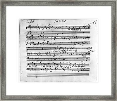 Handel Music Sheet Framed Print by Granger