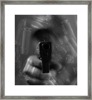Handgun And Ammunition Framed Print