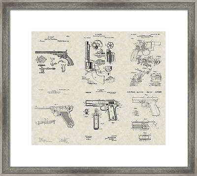 Handguns Patent Collection Framed Print by PatentsAsArt