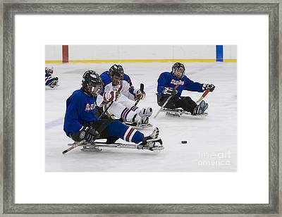 Handicapped Ice Hockey Players Framed Print