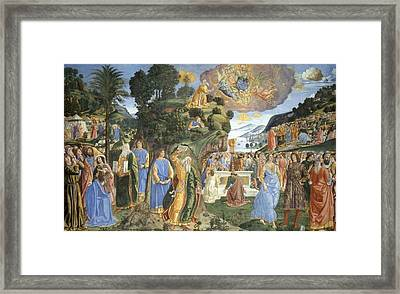 Handing Over Of The Tablets Of The Law Framed Print by Cosimo Rosseli