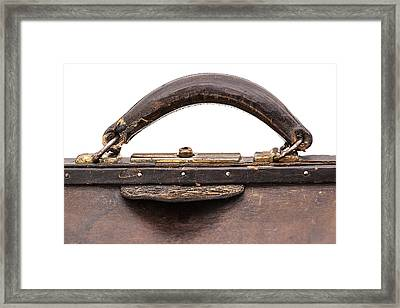 Handle And Lock On Antique Traveling Case Framed Print
