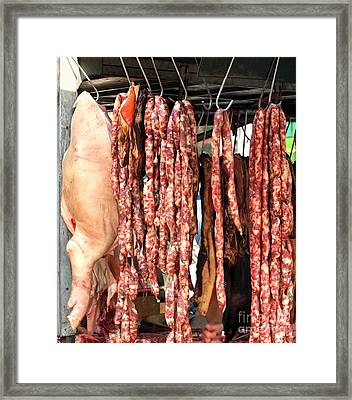 Handmade Sausages And Pork For Sale Framed Print by Yali Shi
