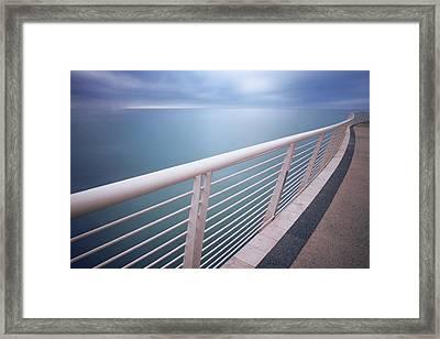 Handrail Above Sea Framed Print