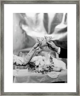 Hands & Arms Of A Bride And Groom Framed Print