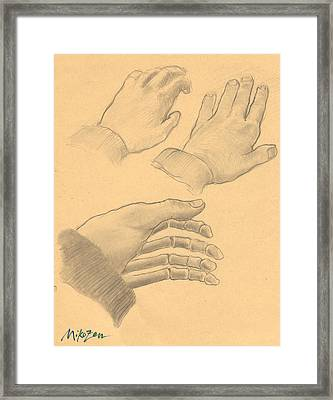 Hands And Bones Framed Print by Art By Miko