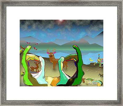 Hands And Deer Framed Print