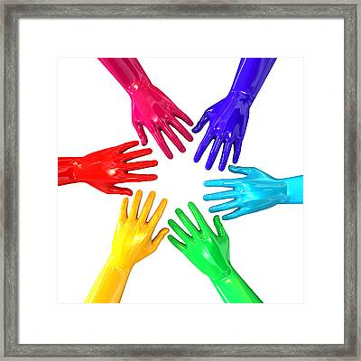 Hands Colorful Circle Reaching Inwards Framed Print