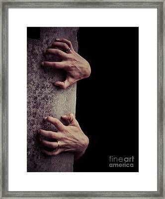 Hands Crawling Out Of The Darkness Framed Print by Edward Fielding