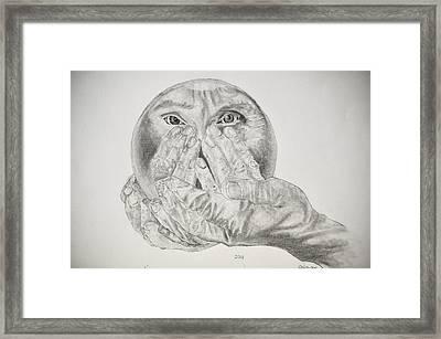 Hands Holding Cristal Ball Framed Print by Glenn Calloway