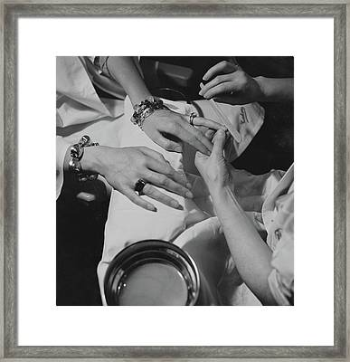 Hands Of The Comtesse Chandon De Briailles Framed Print by Roger Schall