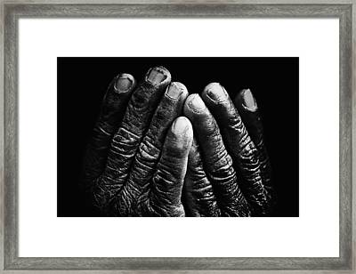 Old Hands With Wrinkles Framed Print by Skip Nall