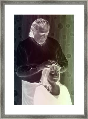 Framed Print featuring the digital art Hands On Healing by Holly Ethan
