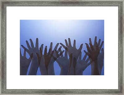 Hands Raised In Worship Framed Print by Colette Scharf
