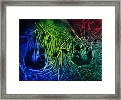 chemiluminescence photography Handprint Framed Print