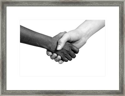 Handshake Black And White Framed Print