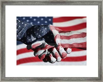 Handshake Melded With American Flag Framed Print by Sherry H. Bowen Photography