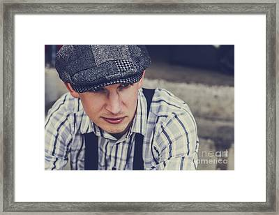 Handsome Fashionable Man In Vintage Apparel Framed Print
