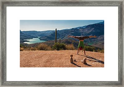 Handstand At Apache Lake Framed Print